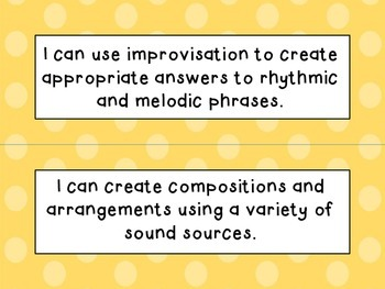 Fourth Grade I Can Statements (NC Music) - Shades of Orange Dots