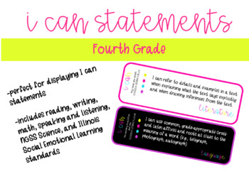 Fourth Grade I Can Statements for Common Core