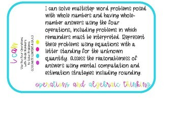Fourth Grade I Can Statements for Common Core-MATH ONLY