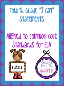 "Fourth Grade ""I Can"" Statements for ELA EDITABLE!"