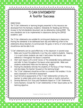 """Fourth Grade """"I Can"""" Statements for KY NEW Reading and Writing Standards"""