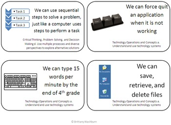 Fourth Grade I Can Statements for Technology Standards- Skill Building