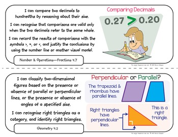 Common Core Standards I Can Statements for 4th Grade - California