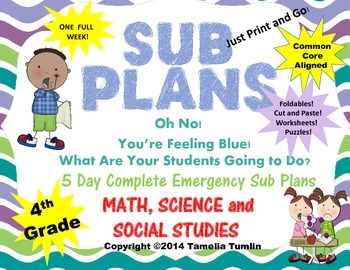 Fourth Grade Interactive Emergency Sub Plans (Math, Science, Social Studies)