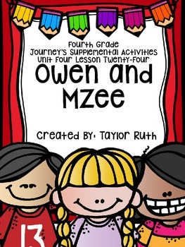 Fourth Grade Journey's Activities: Owen and Mzee (Lesson 24)