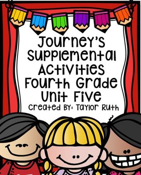 Fourth Grade Journey's Supplemental Activities for Unit Five (Lessons 21-25)