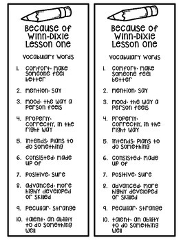 Fourth Grade Journey's Vocabulary Book Mark: 30 Vocabulary List