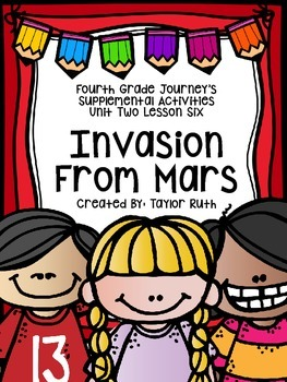 Fourth Grade Journey's Supplemental Activities: Invasion From Mars Lesson 6