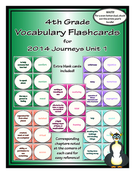 Fourth Grade Journeys Unit 1 Vocabulary Flashcards