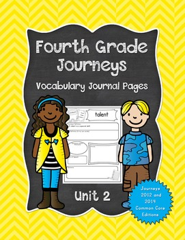 Fourth Grade Journeys Vocabulary Journal Pages Unit 2 Print and Go