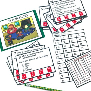 4th Grade Language Arts Tasks Test Prep and Scoot Game