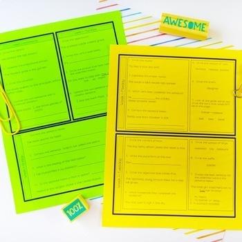 Fourth Grade Language Arts Morning Work or Homework - Spiral Reivew