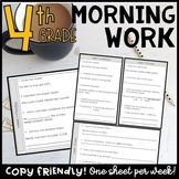 4th Grade Language Arts Morning Work or Homework   Print & Digital