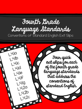 Fourth Grade Language Standards Assessments (Exit Slips)