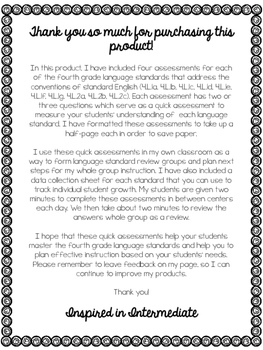 Fourth Grade Language Standards Assessments (Exit Slips)