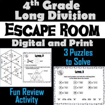 Fourth Grade Long Division with Remainders Activity: Escape Room Math