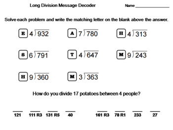 Fourth Grade Long Division with Remainders Activity: Math Message Decoder