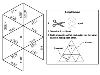 Fourth Grade Long Division with Remainders Game: Math Tarsia Puzzle