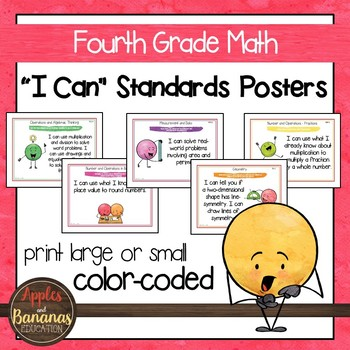 """Fourth Grade MATH Common Core """"I Can"""" Classroom Posters and Statement Cards"""