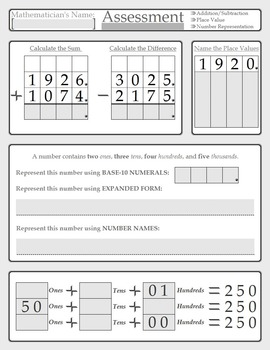 Fourth Grade Math Assessment/Pre-Assessment - Place Value