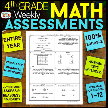 4th Grade Math Assessments | Weekly Spiral Assessments for ENTIRE YEAR