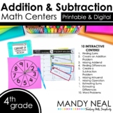 Fourth Grade Math Centers Addition & Subtraction ~ Digital