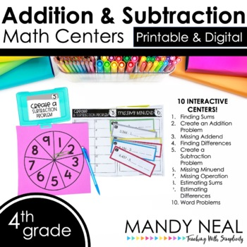 Fourth Grade Math Centers Addition & Subtraction ~ Digital for Google Classroom