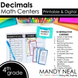 Fourth Grade Digital Math Centers Decimal | Distance Learning