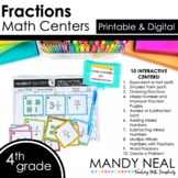 Fourth Grade Digital Math Centers Fractions | Distance Learning