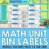 Fourth Grade Math Centers & Math Unit Organization Labels