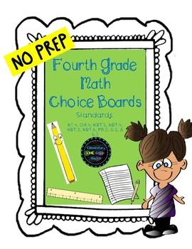 NO PREP Print & Go Fourth Grade Math Choice Boards