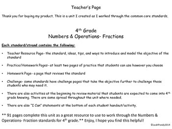 Fourth Grade Math Common Core Fraction Unit