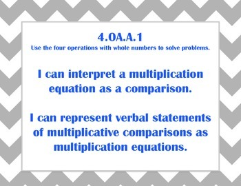 Fourth Grade Math Common Core I Can Statements