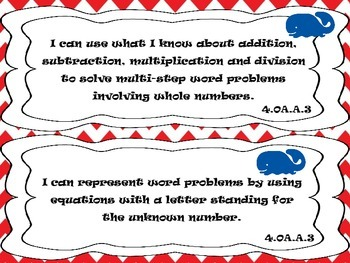 "Fourth Grade Math Common Core ""I Can"" Statements - Whales Nautical"