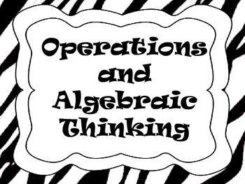 """Fourth Grade Math Common Core """"I Can"""" Statements - Zebra"""