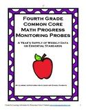 Fourth Grade Math Common Core Progress Monitoring Assessment Pack