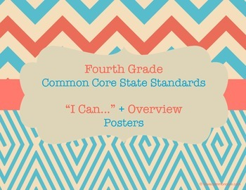 Fourth Grade Math Common Core Standards Chevron Tribal Posters