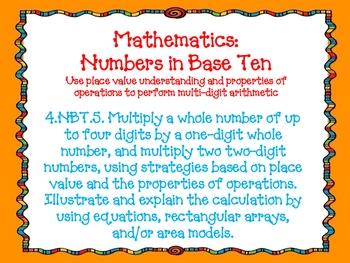 Fourth Grade Math Common Core Standards Orange Doodle Font