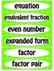 Fourth Grade Math Common Core Vocabulary Word Wall Cards
