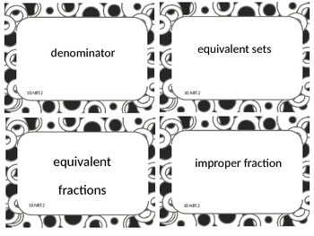 Fourth Grade Math Common Core Word Wall Cards 4.NBT.2 Black Circle Border