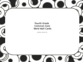 Fourth Grade Math Common Core Word Wall Cards 4.NBT.2 Black Circle Border