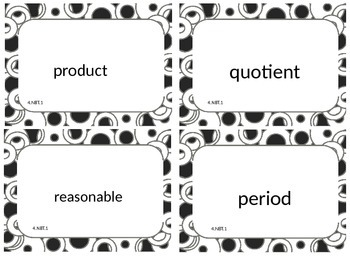 Fourth Grade Math Common Core Word Wall Cards 4.NBT.1