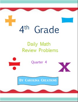 Fourth Grade Math Daily Review Problems for the Smart Board - Qtr. 4