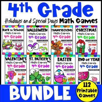 4th Grade Math Games Holidays Bundle: End of Year Math, Back to School Math etc