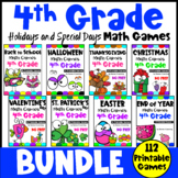 4th Grade Math Games Holidays Bundle: Back to School Math, Halloween Math etc