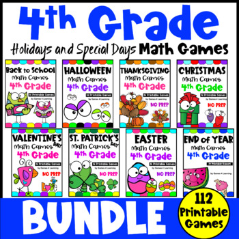 4th Grade Math Games Holiday Bundle: Easter Math, End of Year Math etc