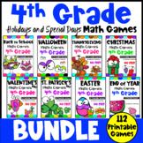 4th Grade Holiday Bundle: Halloween, Thanksgiving, Back to School Math Games etc