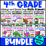 4th Grade Math Games Holidays Bundle: End of Year Math, Ba