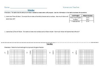 Fourth Grade Math Homework