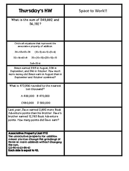 Free Fourth Grade Math Homework Week Six-Virginia SOLs -2014